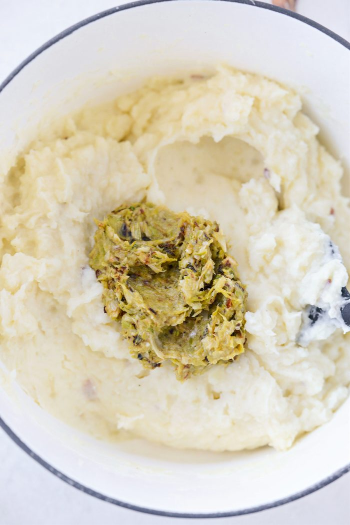 add roasted garlic and leek puree