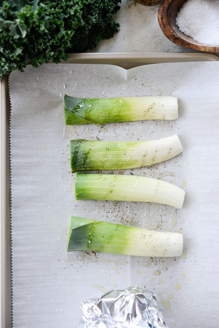 leeks with olive oil, s and p.