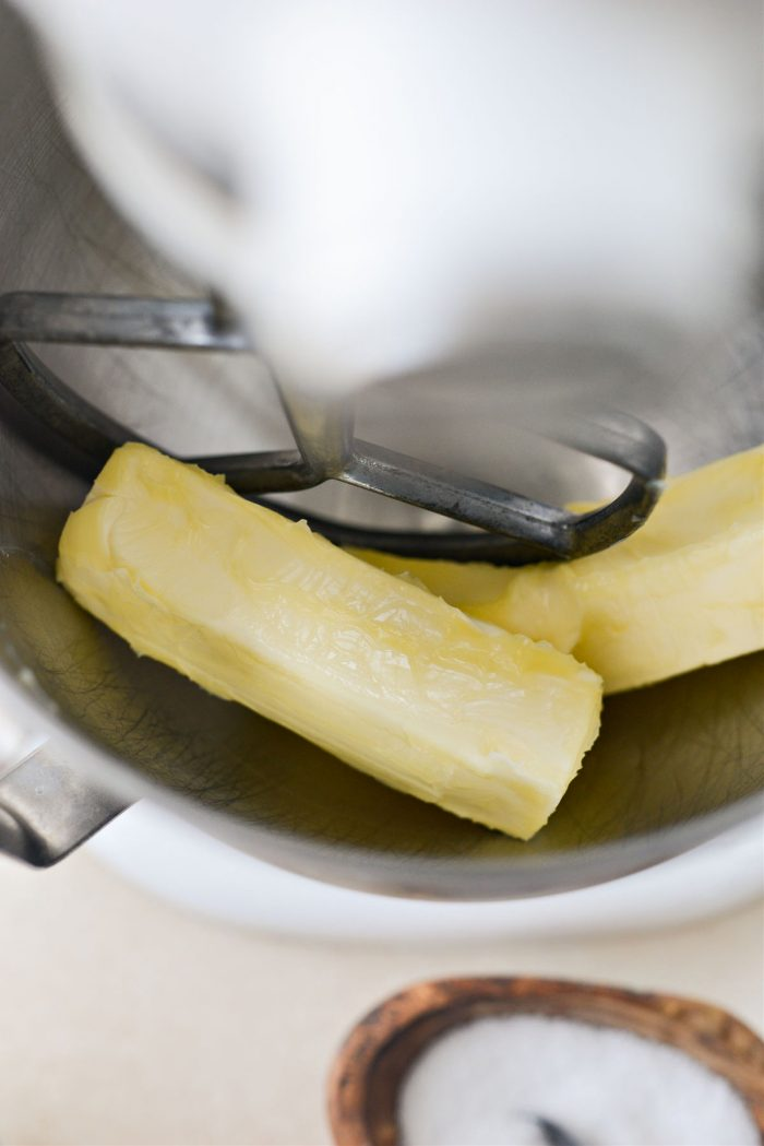 unsalted butter in mixer