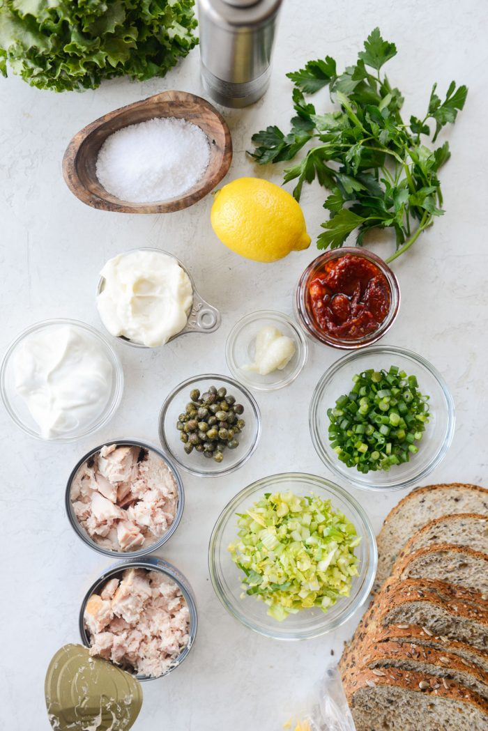 Sun-dried Tomato Tuna Salad ingredients