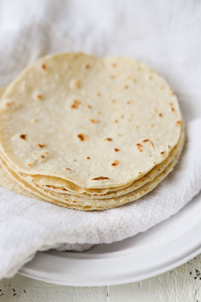 lightly toasted corn tortillas