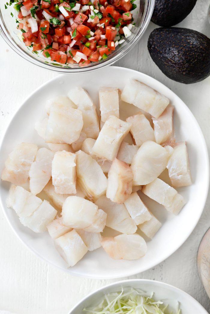 cod cut into pieces