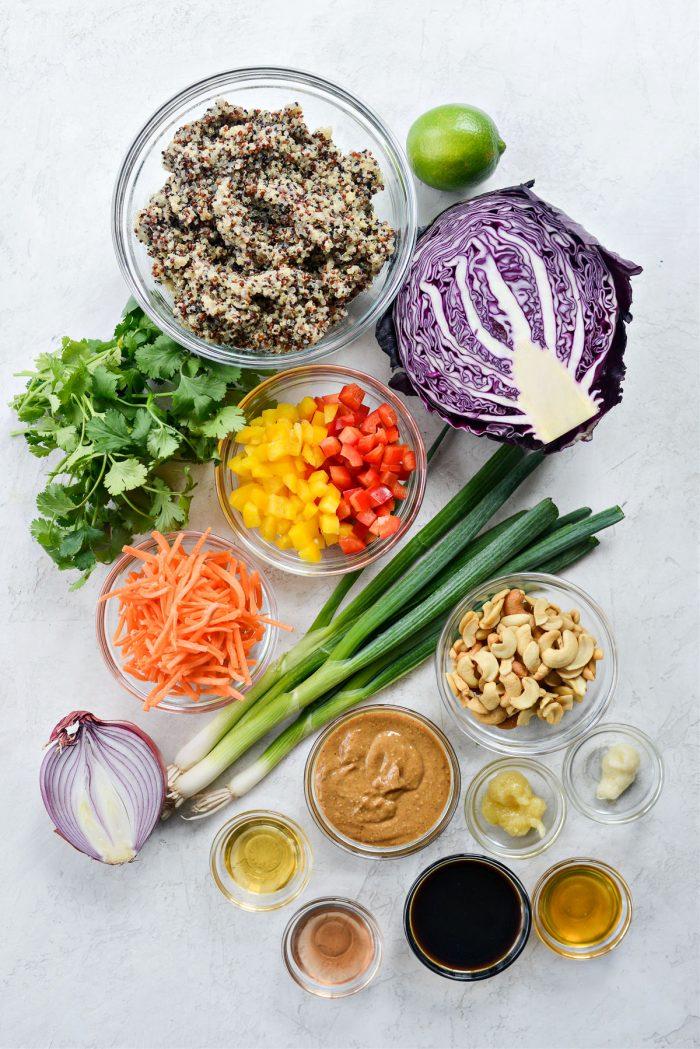 ingredients for Crunchy Cashew Thai Quinoa Salad