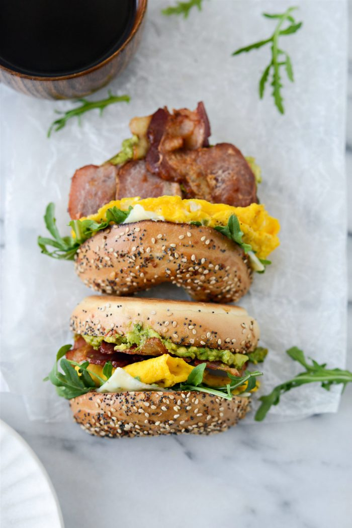 tipped over Everything Bagel Breakfast Sandwich