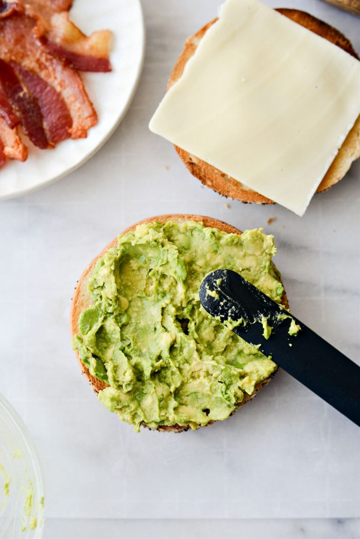 avocado on toasted bagel