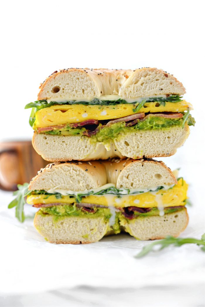 stacked Everything Bagel Breakfast Sandwich