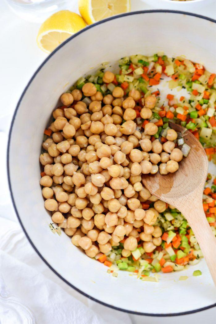 chickpeas added to sauteed veggies