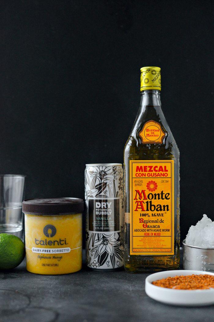 Ingredients for Mango Mezcal Margarita Slush