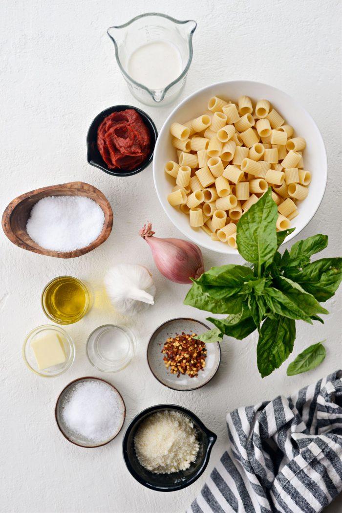 Ingredients for Spicy Garlic Pasta alla Vodka