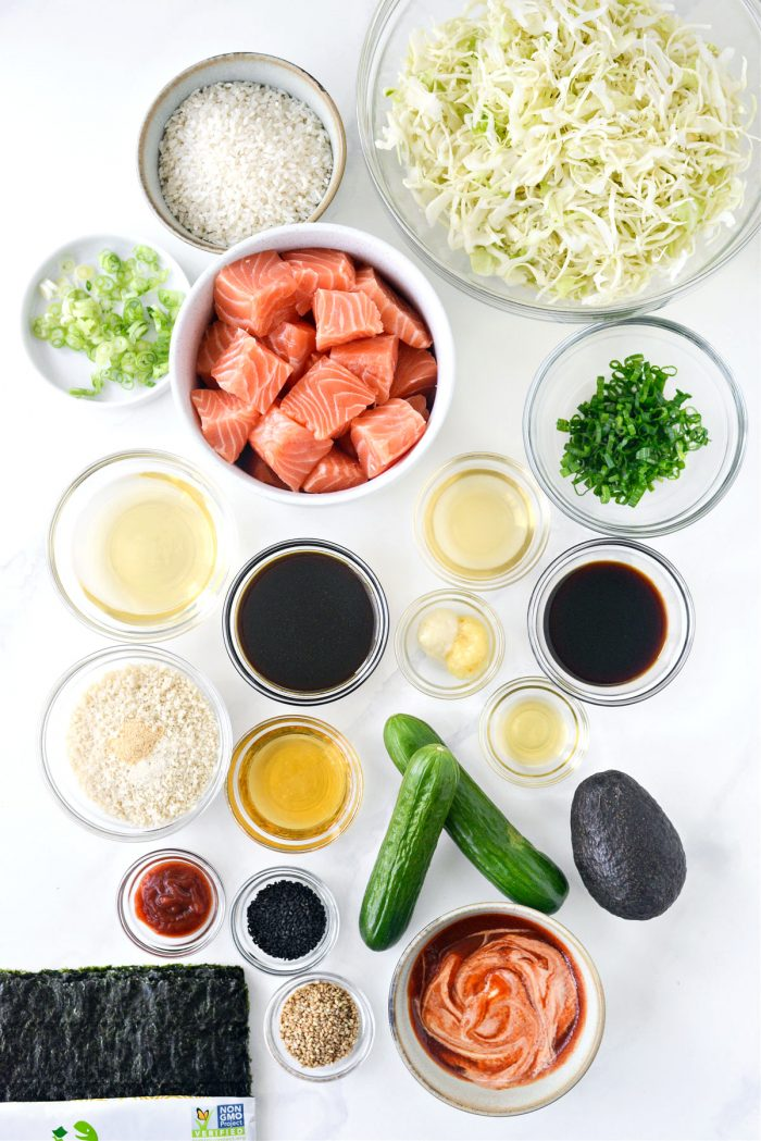 ingredients for Spicy Salmon Maki Bowl