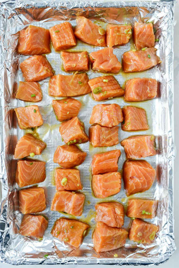 salmon on foil lined pan