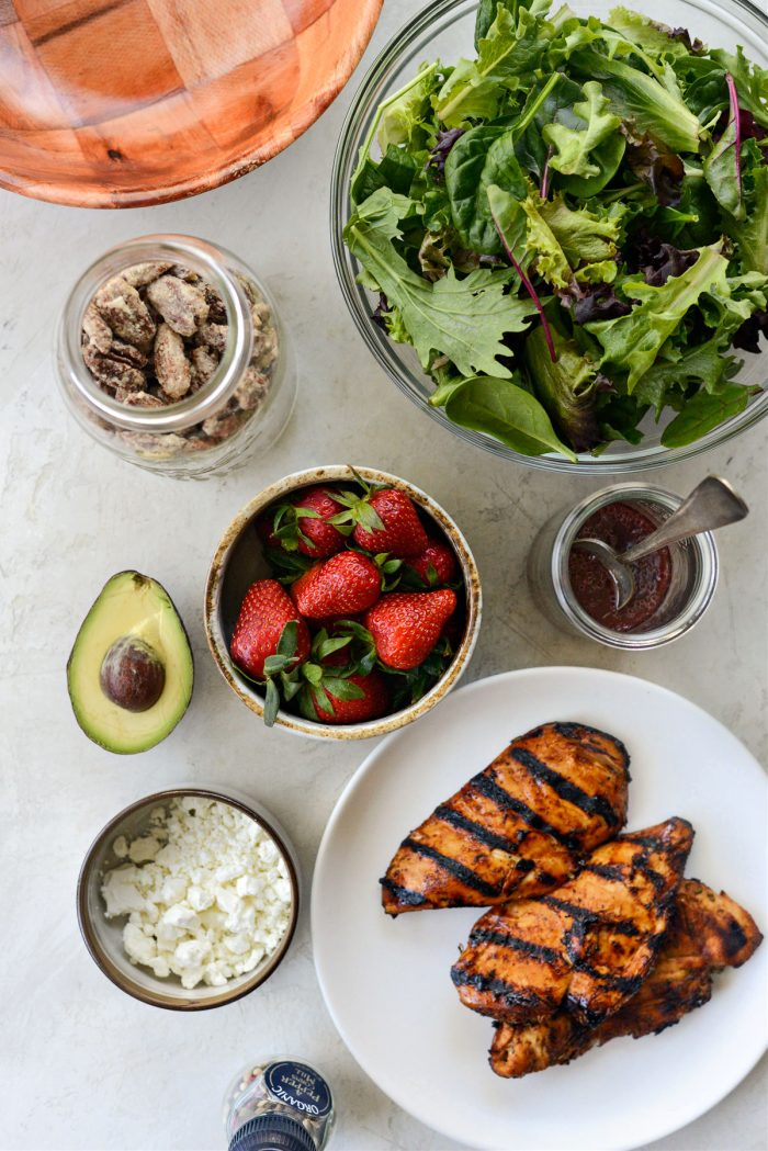 Strawberry Goat Cheese Spring Salad ingredients