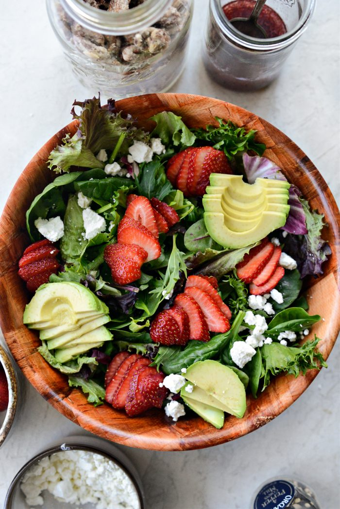 strawberry, avocado and goat cheese to greens