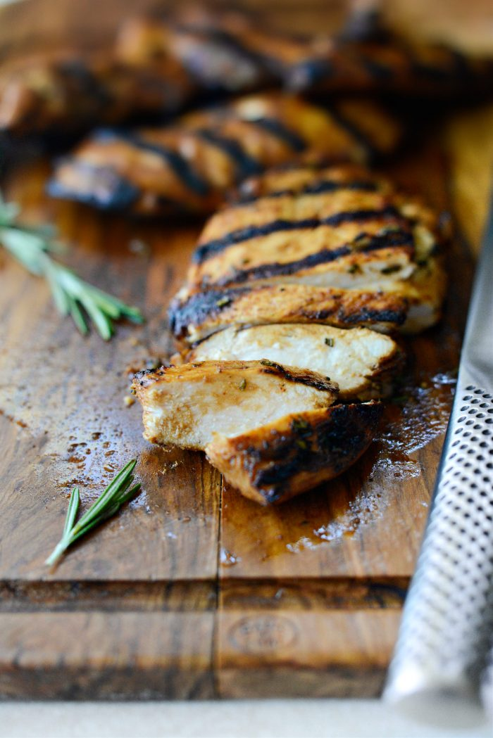 close up of cooked Your Basic grilled chicken marinade chicken breast sliced