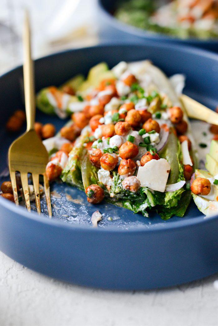 Air Fryer Buffalo Chickpea Caesar Salad