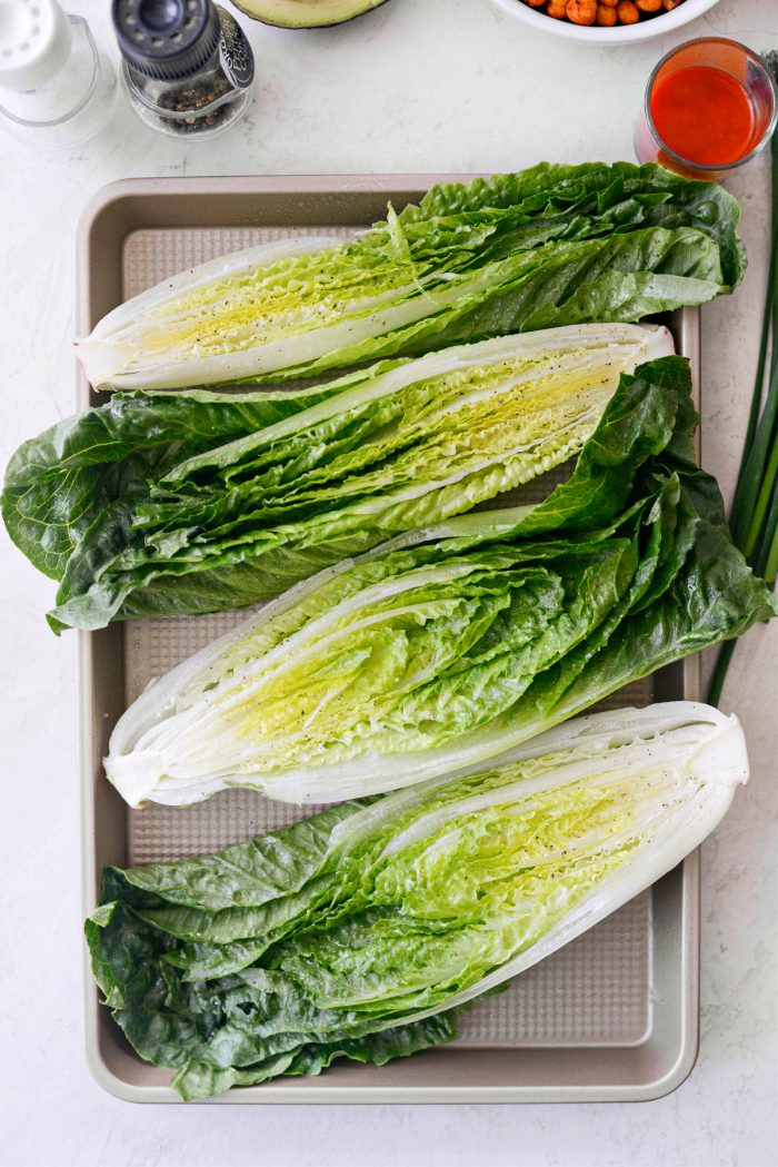 romaine halved, sprayed with olive oil, seasoned with s & p