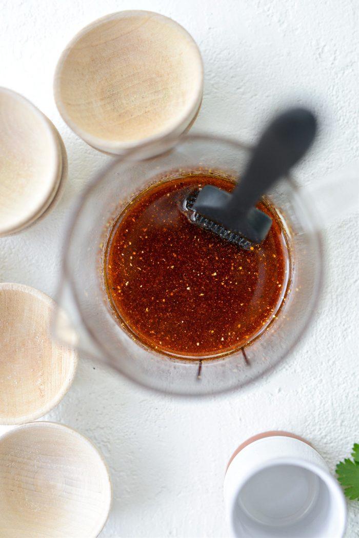 seasoned oil with brush for basting