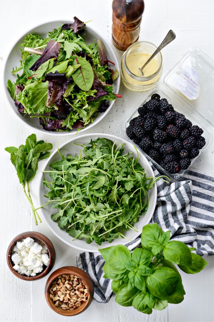 Blackberry Hazelnut Spring Salad ingredients