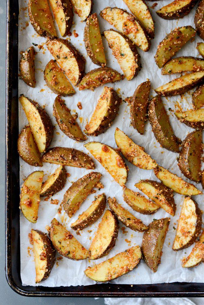 arrange potatoes on parchment lined, rimmed sheet pan