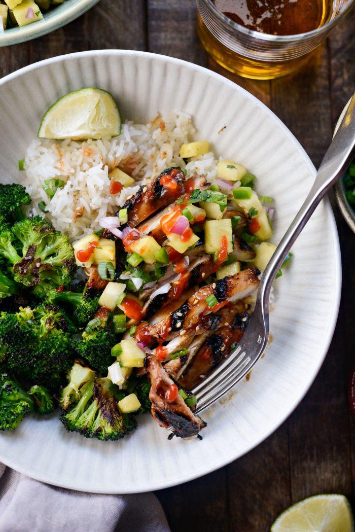 Huli Huli Chicken Rice Bowls with sriracha