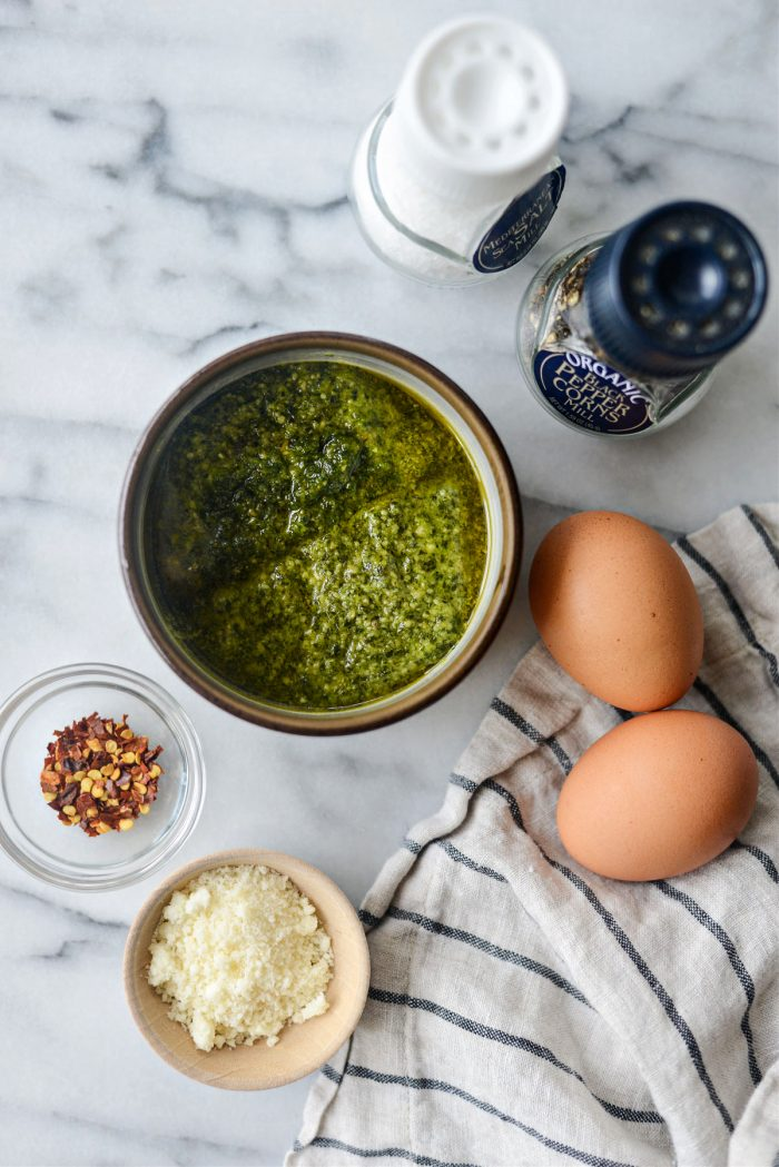 ingredients for pesto fried eggs