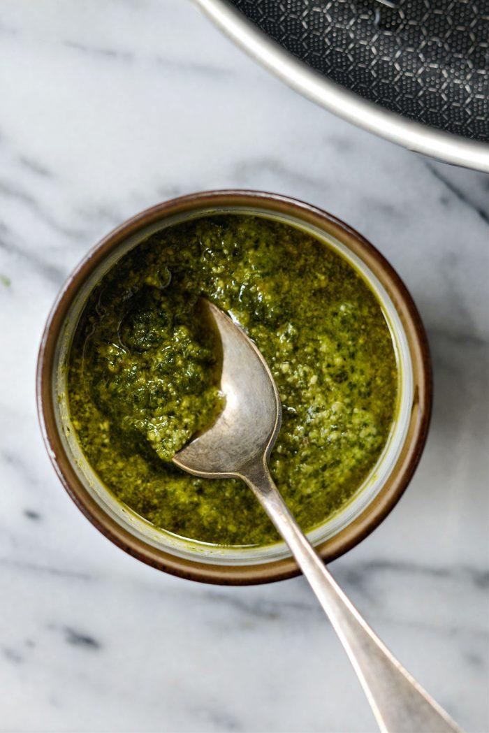 bowl of homemade basil pesto