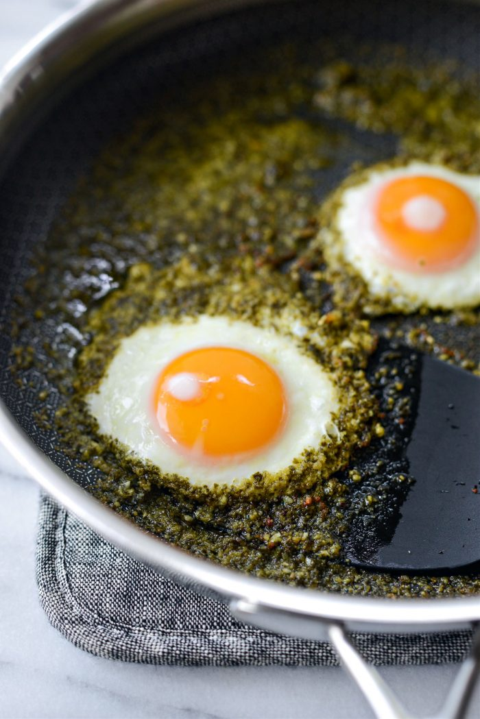 use a spatula to remove eggs from skillet.