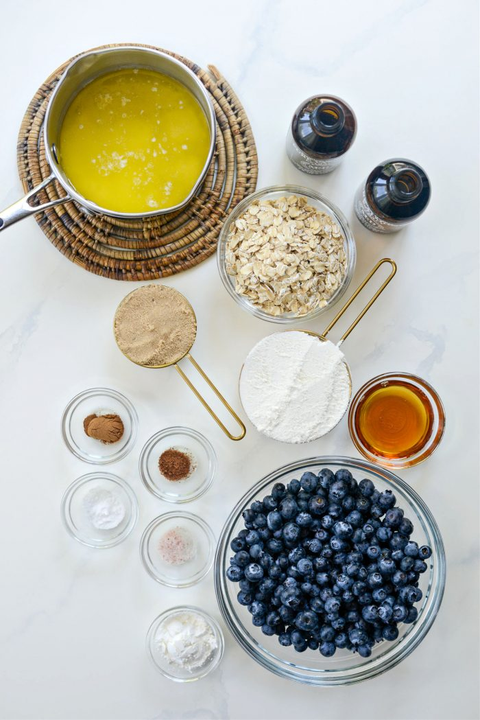 Ingredients for Blueberry Oatmeal Crumble Pie Bars