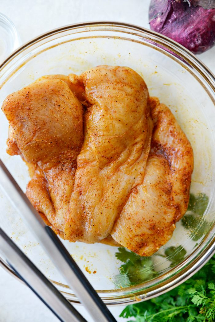thin-cut chicken breasts tossed in spice mixture.