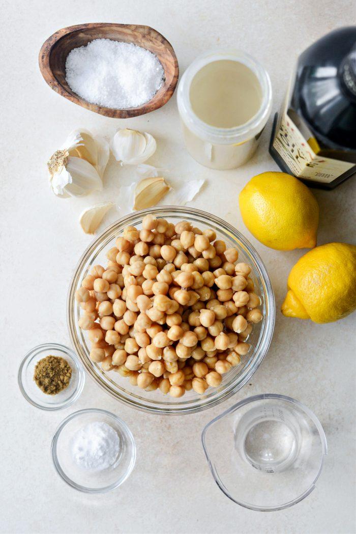 ingredients for creamy blender hummus