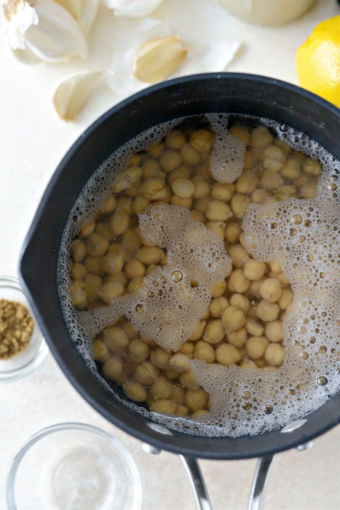 cover chickpeas with water