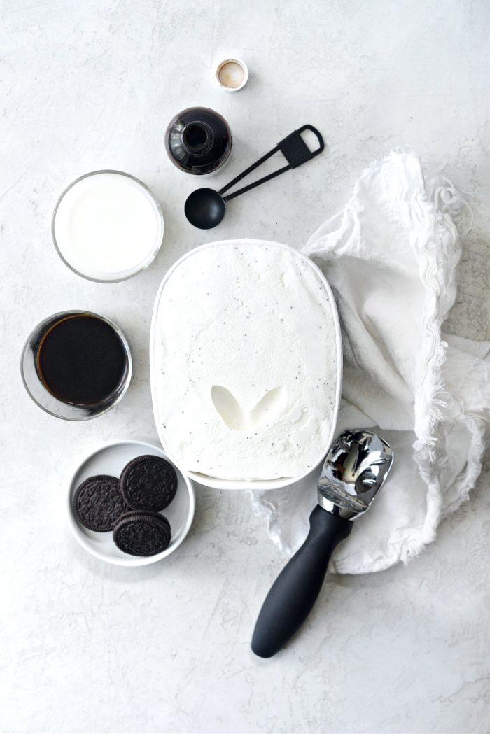 ingredients for Espresso Cookies and Cream Milkshake