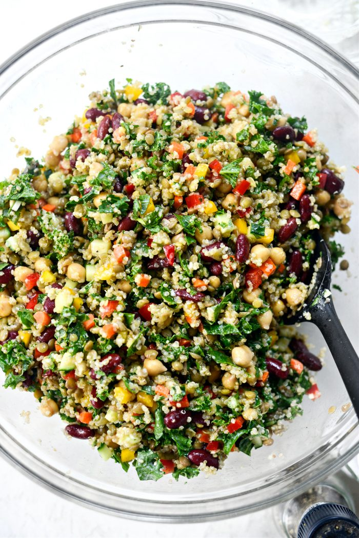 salad tossed with dressing