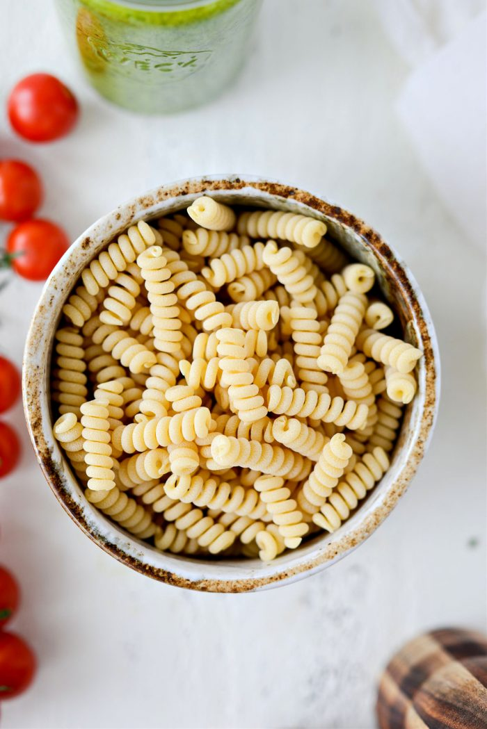 dried pasta in bowl