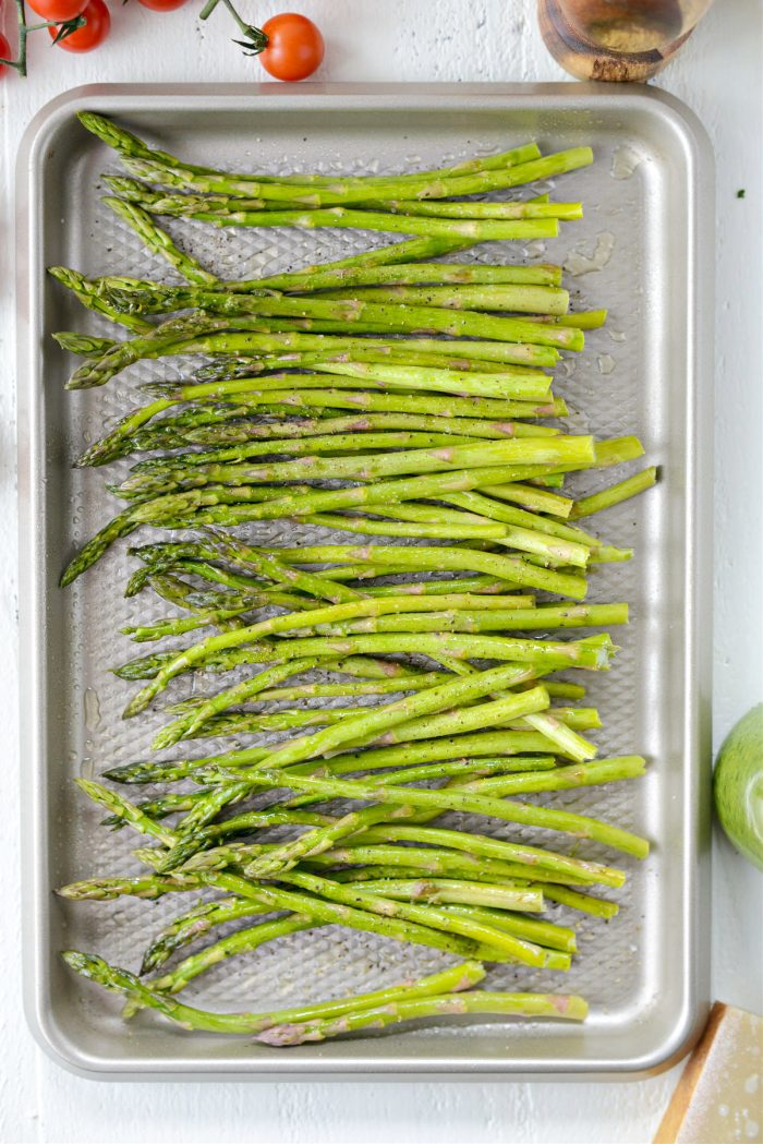 trimmed asparagus on pan
