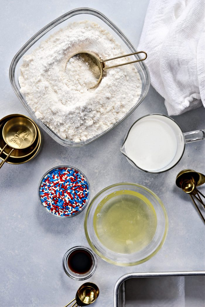 ingredients for Red White and Blue Funfetti Cake