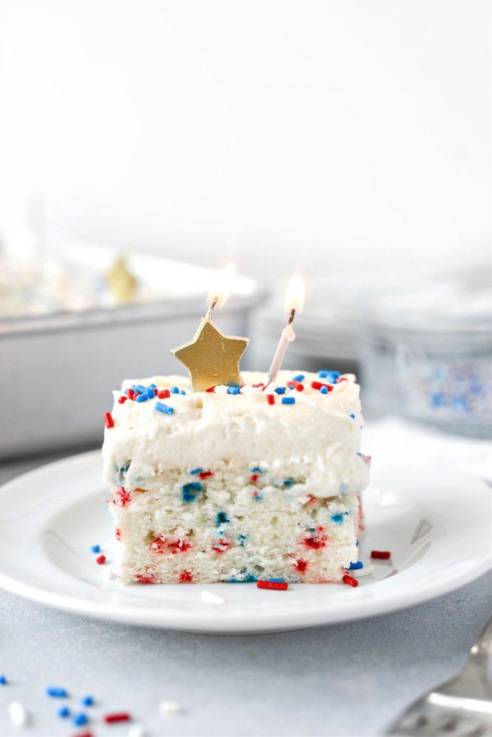 Red White and Blue Funfetti Cake