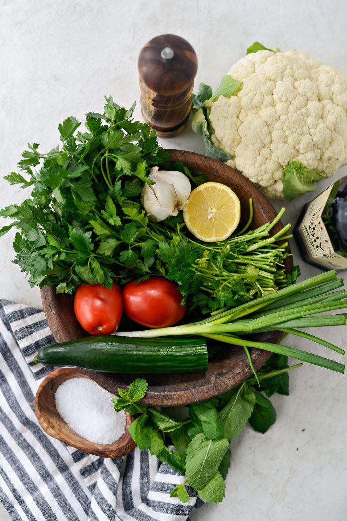 ingredients for Roasted Cauliflower Tabbouleh