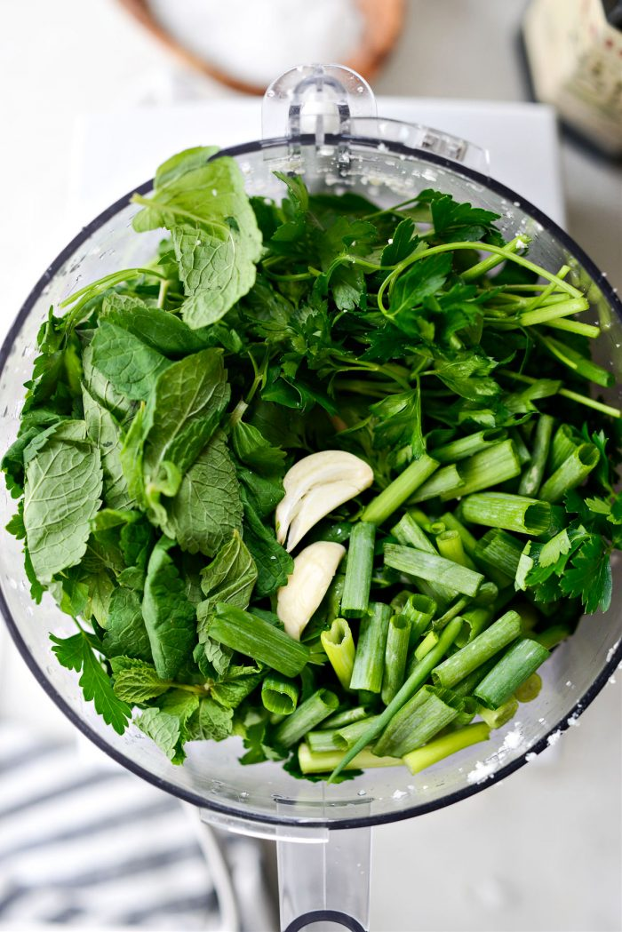 parsley, mint, green onion and garlic in food processor