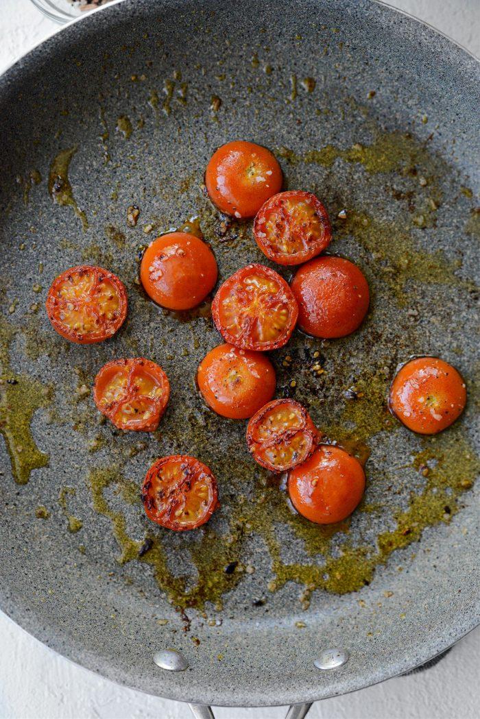 seared tomatoes in pan