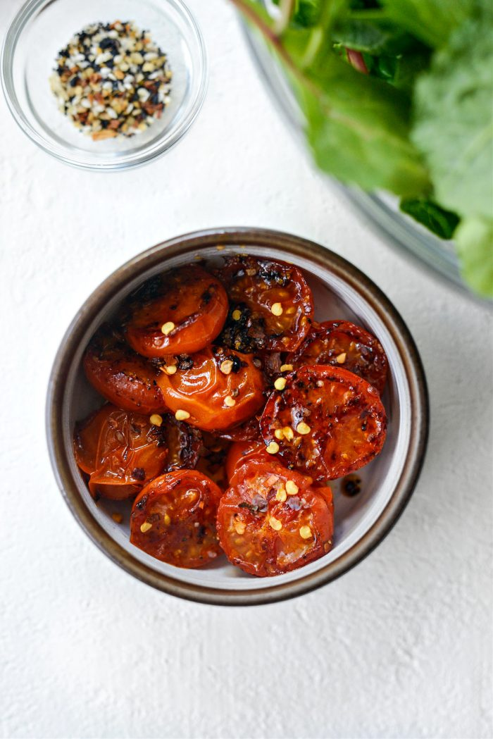 red pepper flakes and seared tomatoes