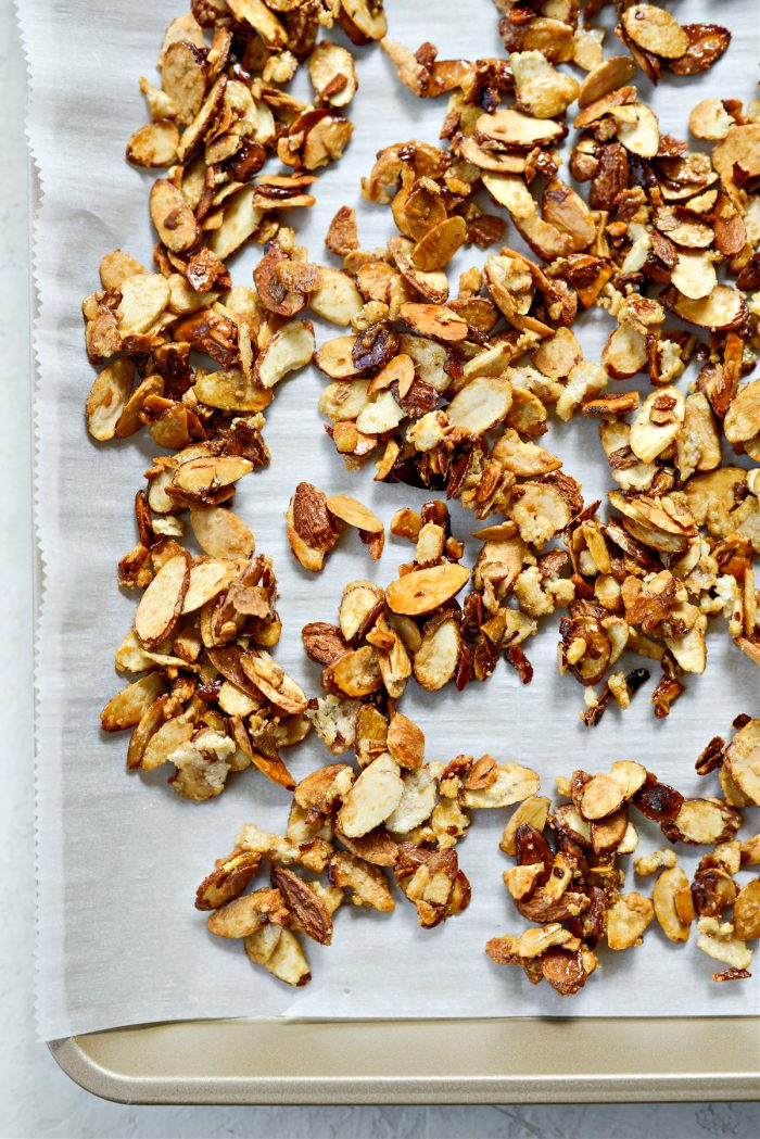 transfer candied almonds to a parchment lined pan