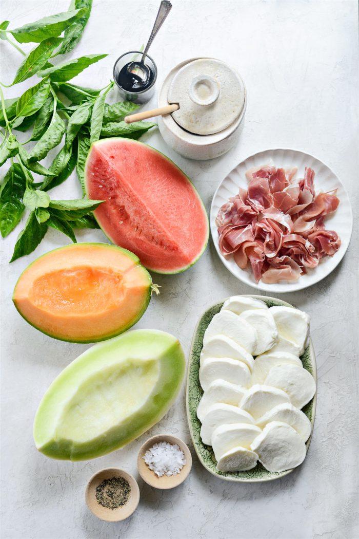 Ingredients for Melon Caprese Platter