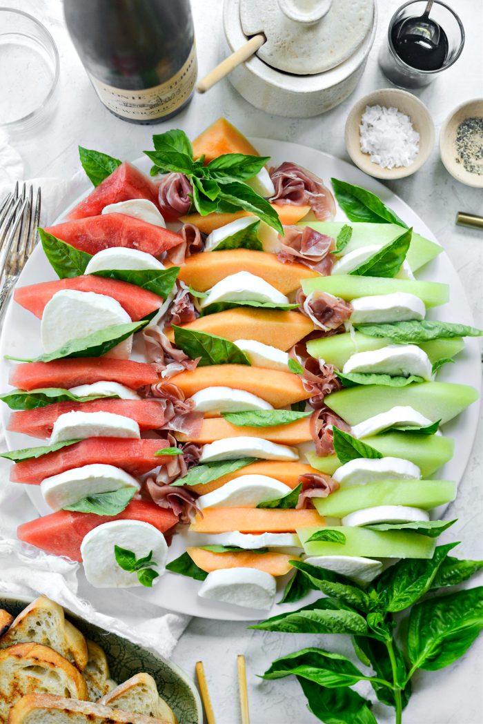 arrange with fresh mozzarella and basil