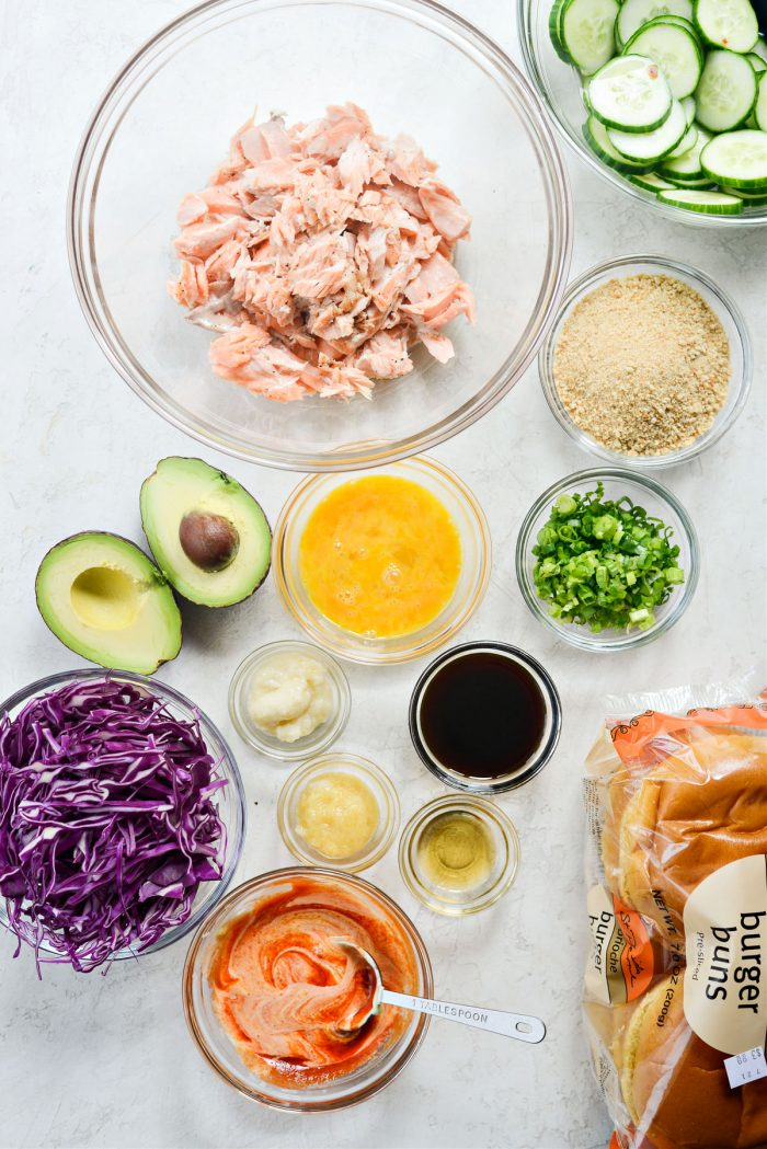 ingredients for Spicy Salmon Burgers