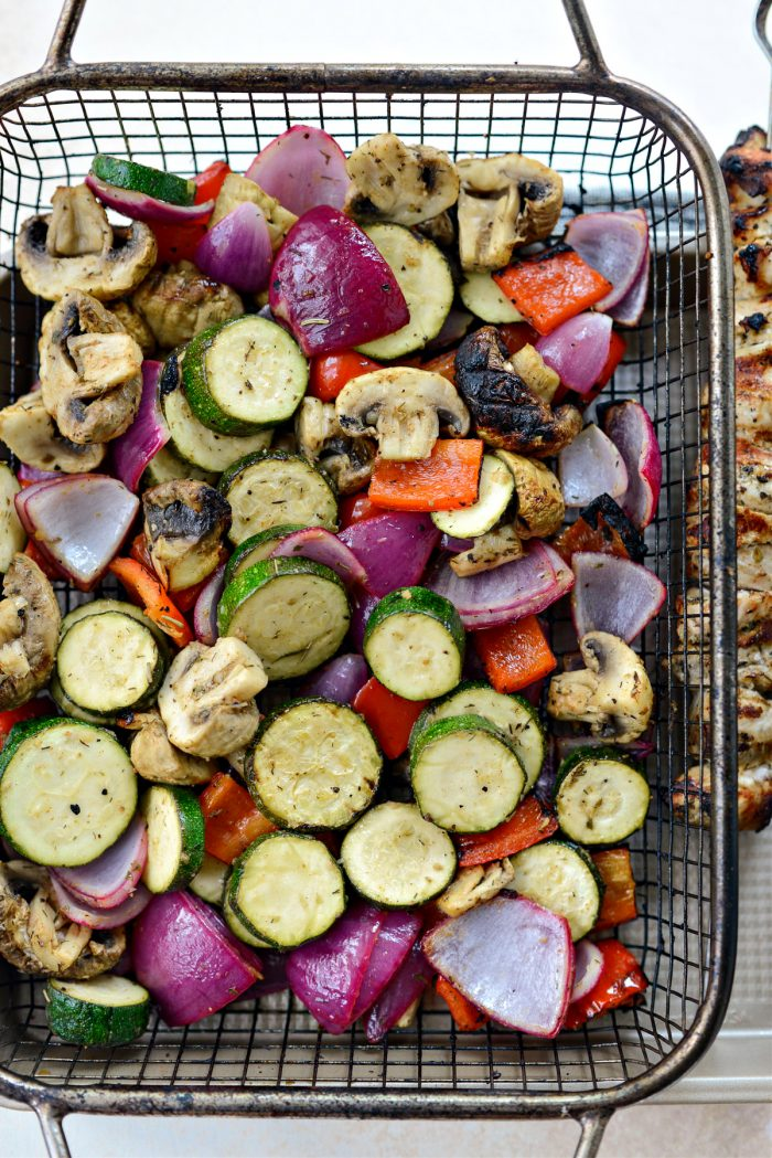 grilled veggies in basket off the grill