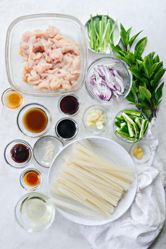 Ingredients for Drunken Noodles