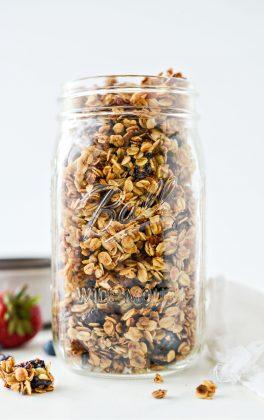 glass jar of Fruit and Nut Granola