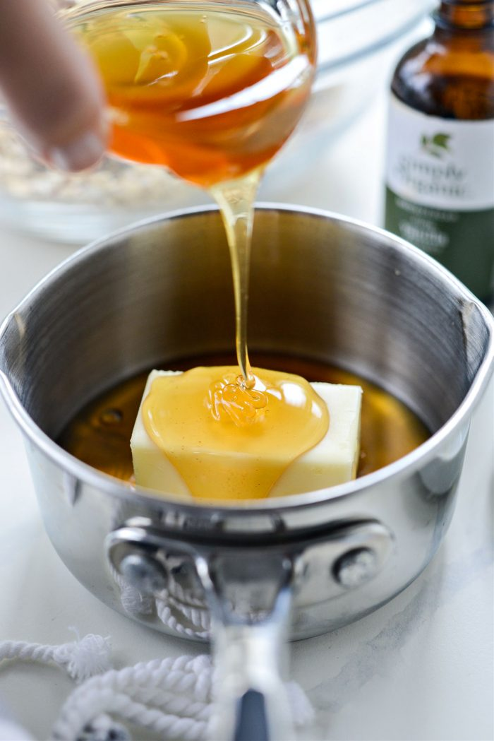 butter, vanilla, honey and maple syrup in a small saucepan