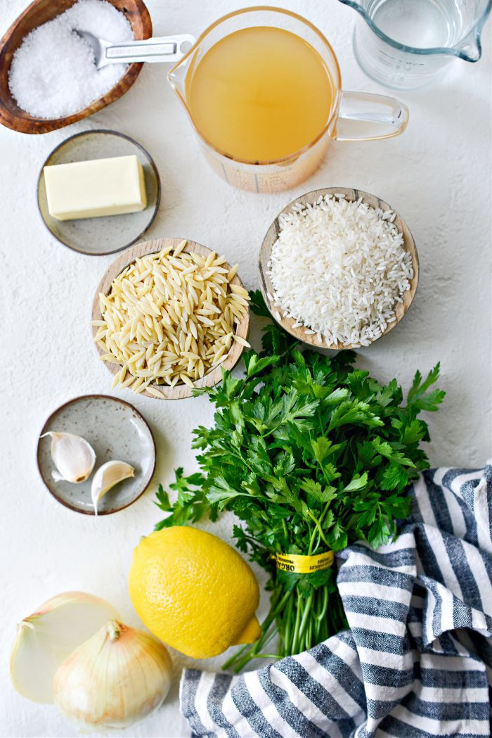 ingredients for Greek Lemon Rice Pilaf